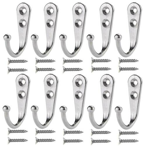 10 PCS Coat Hooks Single Wall Mounted Robe Hook Strong Prong Hanger With Screws