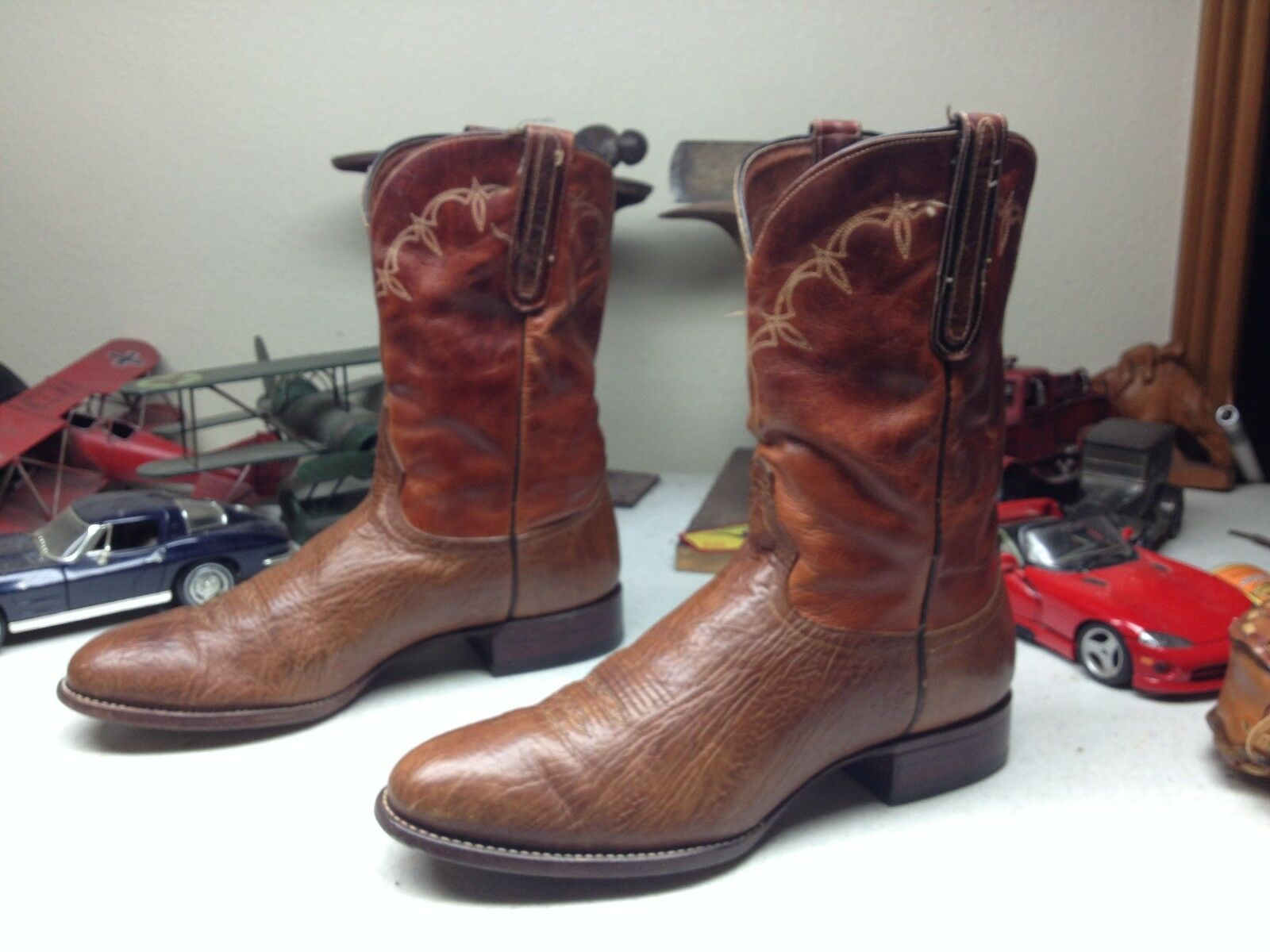 DISTRESSED MADE IN USA VINTAGE COGNAC LEATHER LARRY MAHAN ENGINEER BOOTS 10.5 D