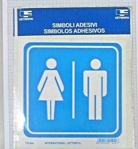 Targhetta segnaletica adesiva Letterfix Blu-Bianco Uomo-Donna ...
