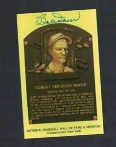 Bobby Doerr Boston Red Sox Signed Gold HOF Plaque Postcard W/Our COA I