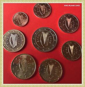 Erster Euro Kms Irland 2002 Harfe Euromünzen 1 Cent 2 Euro