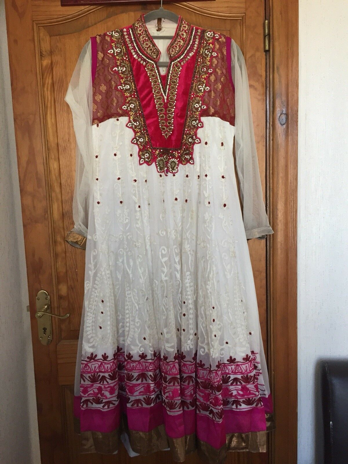 Pink And White Long Indian Dress Size 10-12