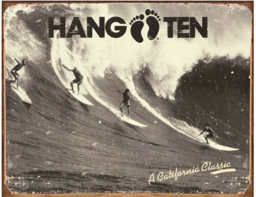 Hang Ten Surfing wall Sign for Office Shed or Camper Van CLEARANCE