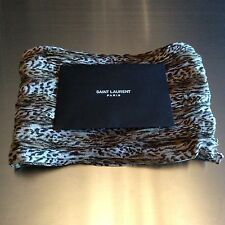 100% Authentic Saint Laurent Leopard Baby Cat Wool Scarf Brown (BRAND NEW)