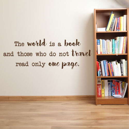 travel decor wall decals wall decor travel gifts The world is a book