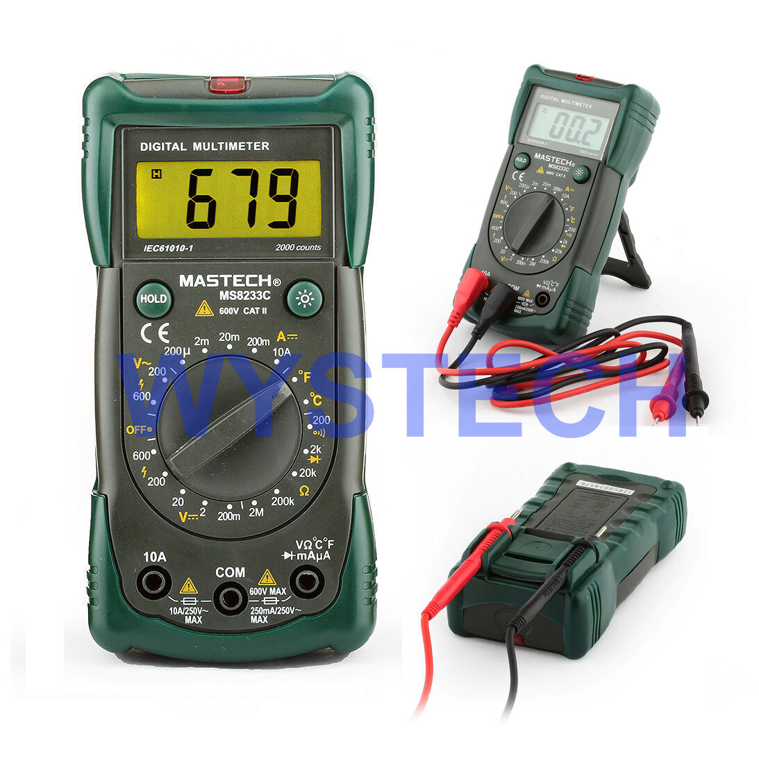 MASTECH MS8233C LCD Digital Multimeter DMM AC DC Voltage Detector Backlight