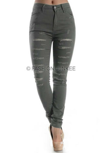 RIPPED JEANS Skinny Denim Stretch Destroyed Distressed PLUS SIZE 1-18 GREY 45