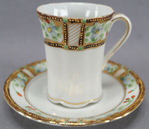 Pair-of-Nippon-Hand-Painted-Blue-Floral-amp-Red-Berry-Chocolate-Cups-amp-Saucers