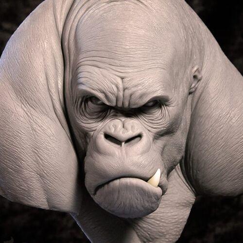 Andy Bergholtz Silverback Gorilla Ape Translucent Resin Bust