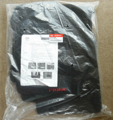 New Genuine OEM 2006-2011 Kia Rio5 Rio Pride Logo Black Carpet Floor Mats Set