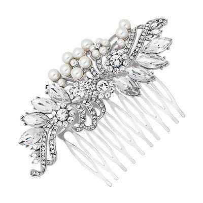 Bellissimo Stile Vintage Crystal & Perla Nuziale Capelli Pettine.- Acquista Sempre Bene