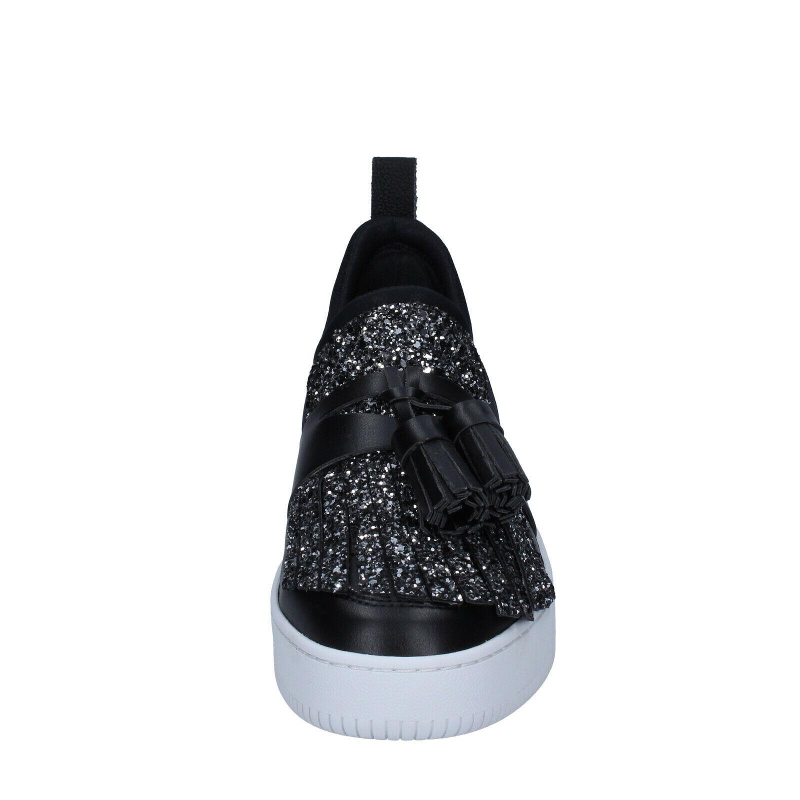 Womens shoes MY GREY GREY GREY MER 3 (EU 36) moccasins silver black glitter BS626-36 f35101