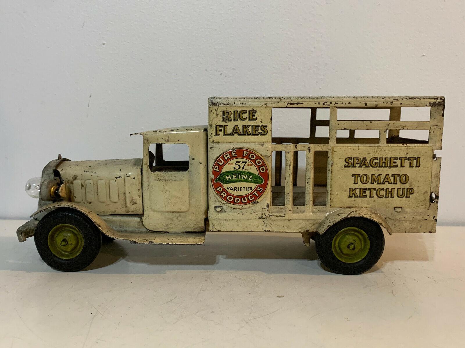 Vtg Antik 1930s Metalcraft Gepresst Stahl Spielzeug Heinz Rice Flocken Lkw
