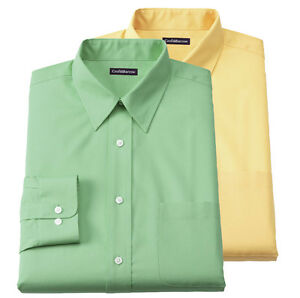 New-Croft-amp-Barrow-Men-s-Broadcloth-Point-Collar-Dress-Shirt-Green-or-Yellow-32