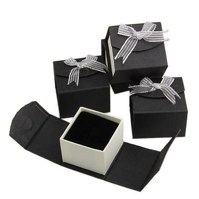 5 Black Paper Jewelry Ring Package Present Gift Box Case Wedding Party