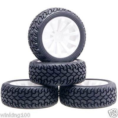 Rubber Tires 6030-8019 Wheels Fit RC HSP HPI 1:10 On-Road Refit 1:16 Rally Car