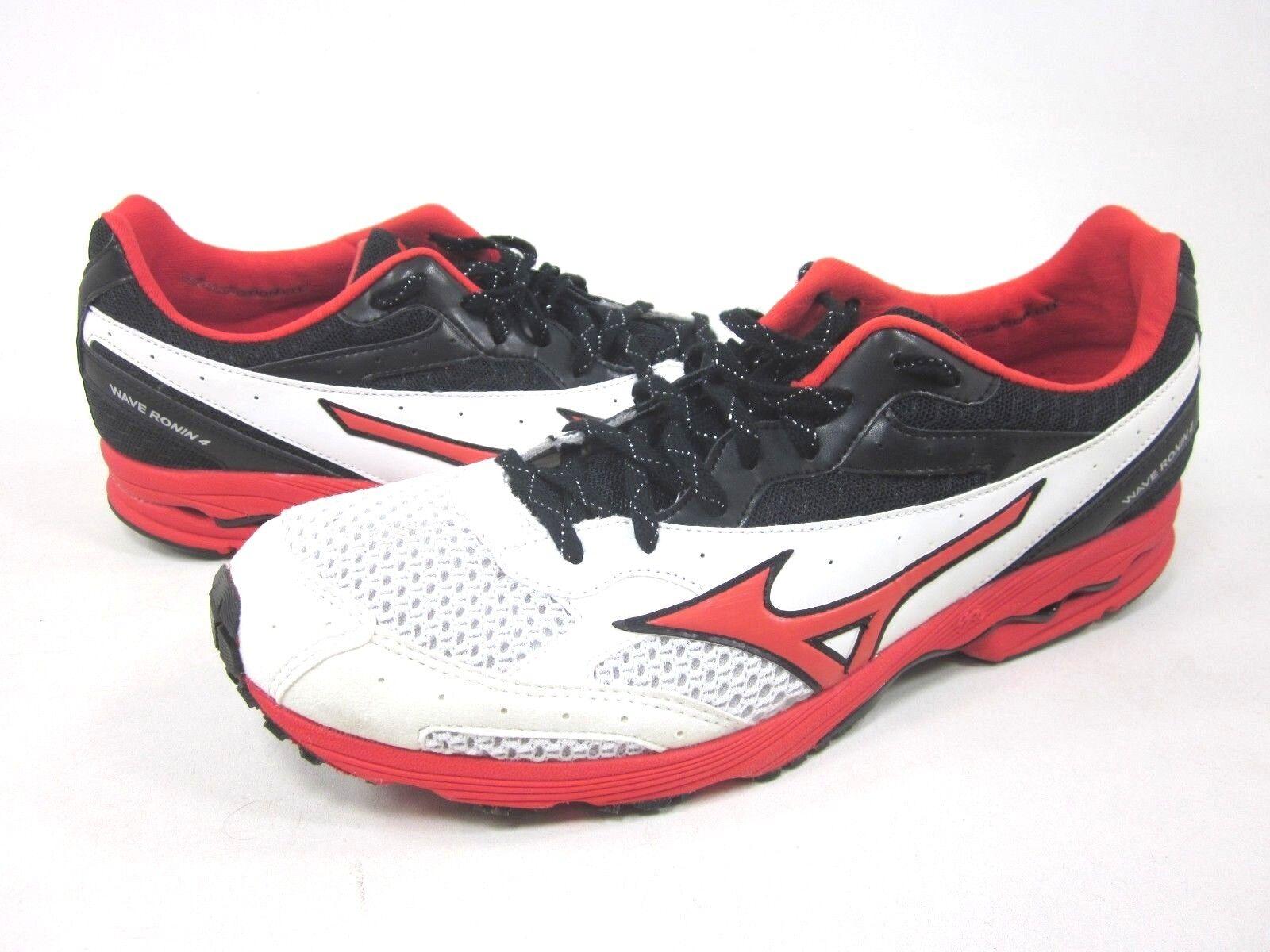 MIZUNO Para hombres Zapatos Deportivos WAVE RONIN 4, blancoo Picante-Rojo Negro, Talla EE. UU. 12,