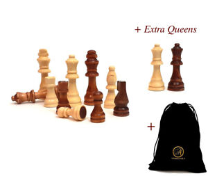 AMBRIZZOLA Francese 90mm Wooden Chess Pieces +2 Extra Queens + bag