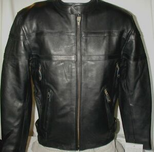 7063b4e07 Details about Mens Milwaukee Vented Top Grain Naked Leather Motorcycle  Jacket SM MED 2X 3X 5X
