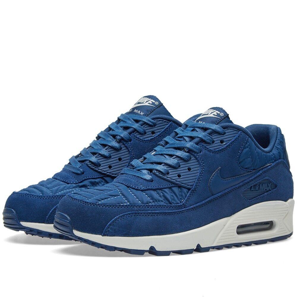 Para mujer Nike Air Max 90 Premium Acolchada Zapatillas Zapatos Azul 3.5, 4.5