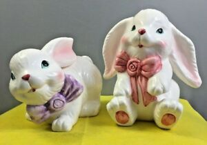 2-Ceramic-Porcelain-Deco-Easter-Bunnies