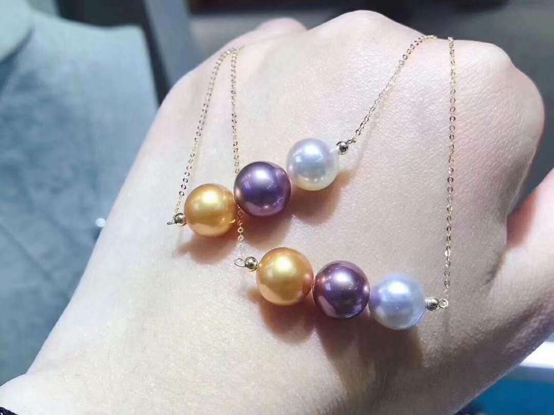Certified Natural Three color Pearl Pendant +18K gold Adjust Chain Women Gifts