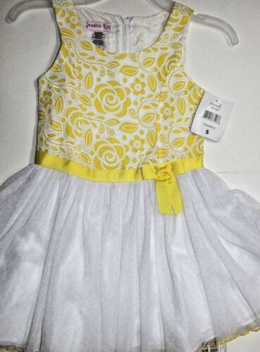 Church wear Yellow//White color Jessica Ann Girls/' Floral Dress for Party New