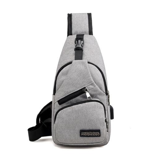 Men USB Charging Shoulder Bag Sports Outdoor Sling Chest Pack Crossbody Handbag