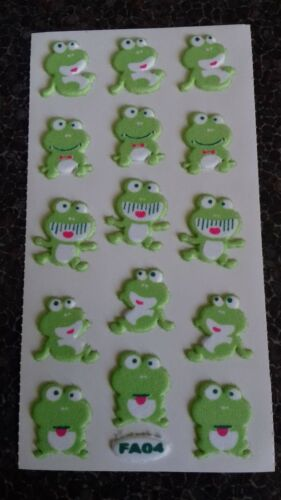 1 PK CUTE GREEN FROGS 3D PUFFY STICKERS BNIP SCRAP BOOKING ARTS CARD CRAFTS