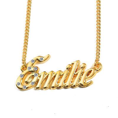 Collier Prénom EMILIE 18K Plaqué or Accessoires identité Élégant Cristal Mode