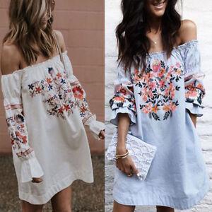 Damen-Floral-Boho-Schulterfrei-Vintage-Kleid-Sommer-Minikleid-Party-Strandkleid