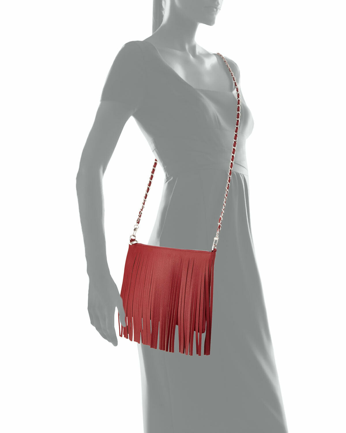 Posse Dara Fringe Leather Crossbody Bag, Crimson … - image 3