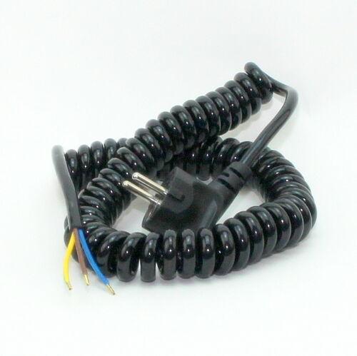 Spiral-Kabel Wendelleitung Netzkabel dehnbar bis 2,5 m 3-adrig 3x1,0 mm²