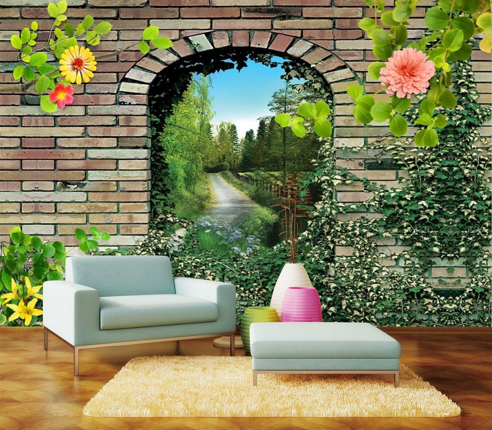 3D Arch Flower 803 Wallpaper Mural Wall Print Wall Wallpaper Murals US Lemon