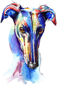 Greyhound-Art-Print-Painting-Poster-Wall-Art-Picture-Birthday-Gift-Gifts-Xmas