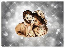 Quadro moderno 100x70 sacra famiglia madonna gesù nascita sole stelle argento
