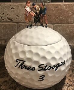 Clay-Art-2000-GOLF-The-Three-Stooges-Moe-Larry-and-Curly-Cookie-Jar-Hand-Painted