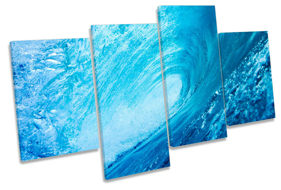 Crashing Beach Wave  MULTI CANVAS WALL ART Picture Print
