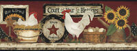 Primitive Country Farmhouse Rise & Shine Chicken Rooster Wallpaper Border