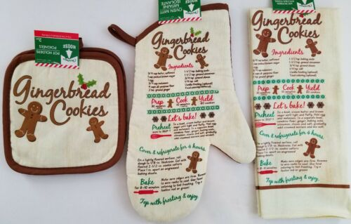 Christmas Linen 'Gingerbread Cookies' Pot Holders Towels Select It Oven Mitts