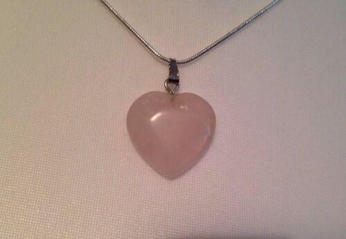 Cuarzo Rosa Piedras Preciosas Amor Corazón Romance Colgante Collar Día De Las Madres