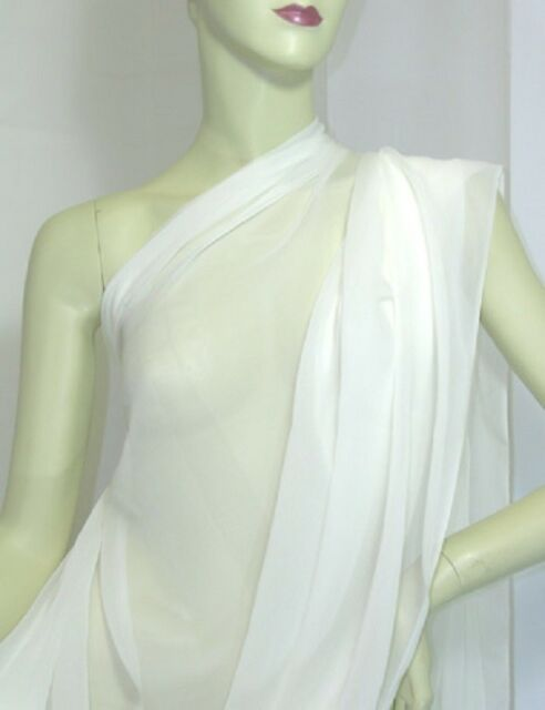 real silk sheer crepe chiffon Georgette fabric off white by yards for dress