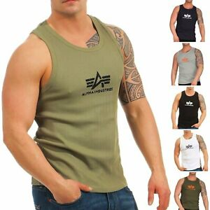 Alpha-Industries-Uomo-Tank-Top-Logo-176545-ascella-muscolare-T-shirt-te-a-costine