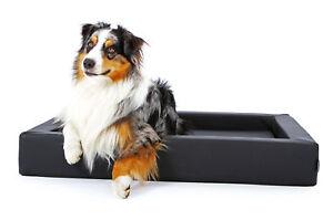 Panier en cuir synthétique de lit de chien de chien, également orthopédique, tapis intérieur démontable