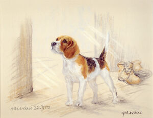 BEAGLE-HOUND-DOG-FINE-ART-LIMITED-EDITION-PRINT-Standing-by-the-Open-Door