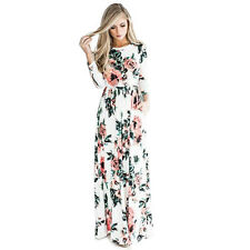 Boho Womens Retro Floral Long Maxi Dress Long Sleeve Party Summer Beach Sundress