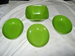 A-Lot-of-4-Green-1960-039-s-Retro-Vintage-Australian-Melmac-Ornamin-Ware-Bowls
