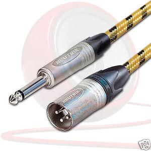 Vintage-NEUTRIK-MONO-JACK-a-Male-XLR-CABLE-GUITARE-MIXER-DI-cable-Sommer