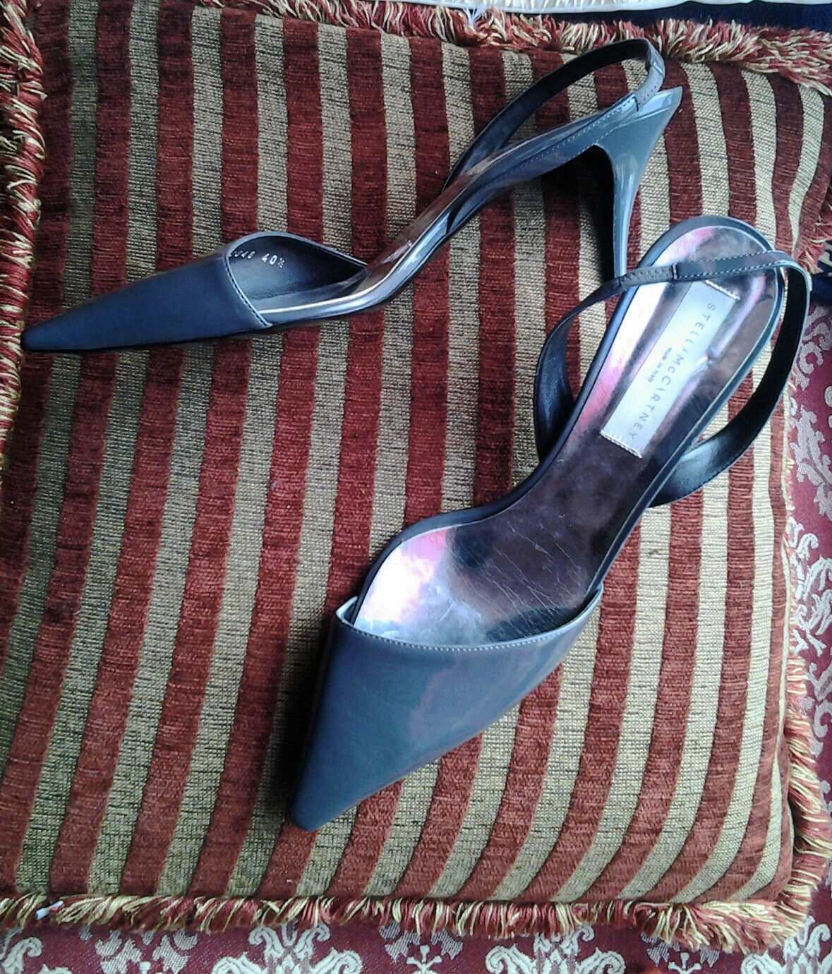 Stella McCartney Grey Patent Vegan Slingback Heels sz 7 40EU X-mas (at) Work