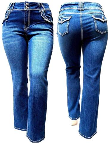 Womens Plus Size Curvy Stretch Relaxed Fit flap pocket Straight Bootcut Jeans